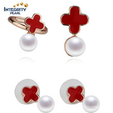 Fashion Cross Pearl Jewelry Set Golden Color 8mm Button Pearl Elegant Pearl Set Design